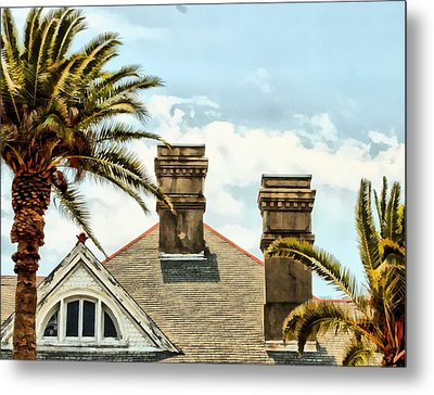 Two Palms Two Chimneys And Gable Metal Print by James Stough