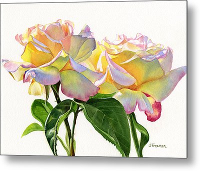 Two Peace Roses Metal Print by Sharon Freeman