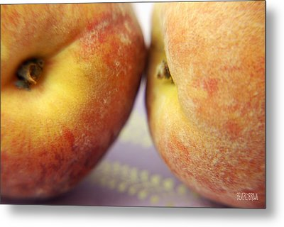 Two Peaches On A Purple Background Metal Print by Beverly Brown