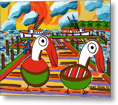 Two Pelicans On The Pier-cedar Key Metal Print