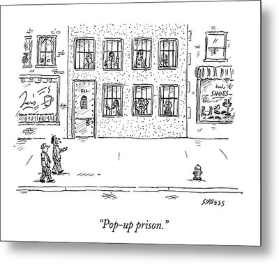 Two People Walk Past A Prison Which Sits Metal Print
