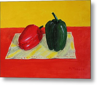 Two Peppers Metal Print