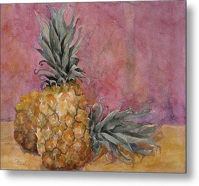 Two Pineapples Art Painting Metal Print by Blenda Studio