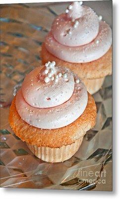 Two Pink Cupcakes Art Prints Metal Print by Valerie Garner