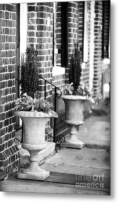 Two Planters By The Door Metal Print by John Rizzuto