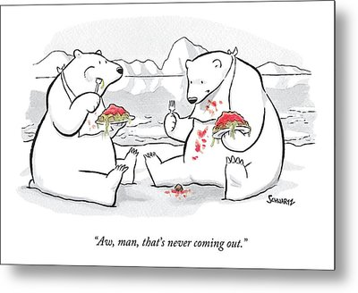 Two Polar Bears Eat Spaghetti And Meatballs.  One Metal Print by Benjamin Schwartz
