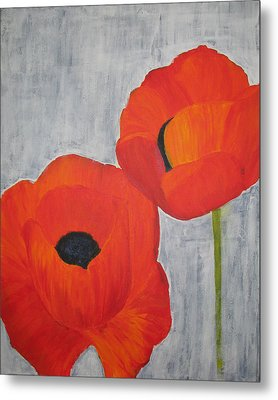 Two Poppies And Old Denim Metal Print by Stephanie Grant