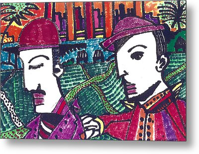 Two Rabbis In Miami Metal Print by Don Koester