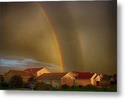 Two Rainbows Plus Two Pots Of Gold Metal Print by Jerome Lynch