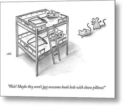 Two Rats Approach An Obvious Rat Trap On A Bunk Metal Print by Jason Adam Katzenstein