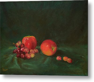 Two Red Apples And Grapes Metal Print by Sandy Fisher