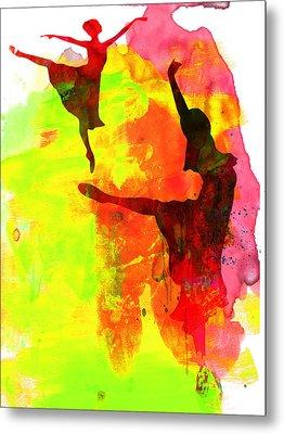 Two Red Ballerinas Watercolor  Metal Print