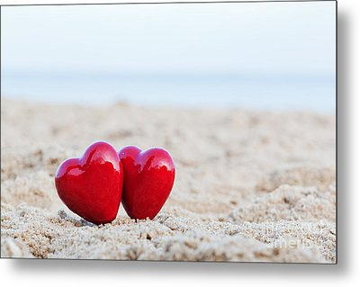 Two Red Hearts On The Beach Symbolizing Love Metal Print by Michal Bednarek