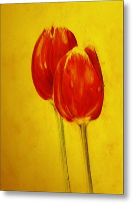 Two Red Tulips Metal Print by Jean Cormier