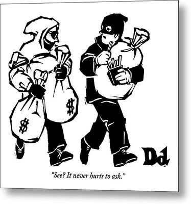 Two Robbers Carrying Sacks Of Money Are Walking Metal Print