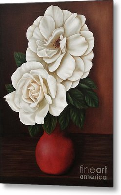 Two Roses Metal Print by Paula Ludovino