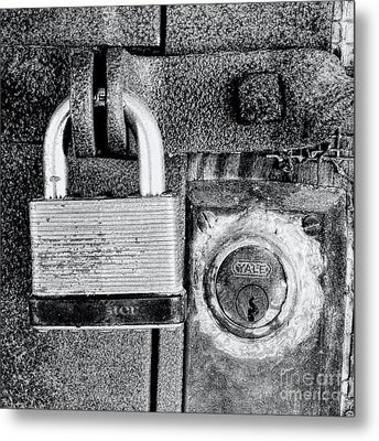 Two Rusty Old Locks - Bw Metal Print by David Perry Lawrence