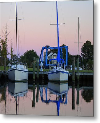 Two Sailboats At Dock Metal Print by Carolyn Ricks