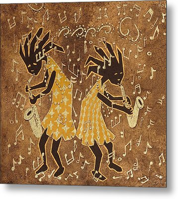 Two Sax Players Metal Print by Katherine Young-Beck
