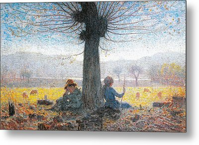 Two Shepherds On The Fields Of Mongini Metal Print by Giuseppe Pelizza da Volpedo