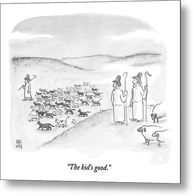 Two Shepherds With Conventional Sheep Look Metal Print by Paul Noth
