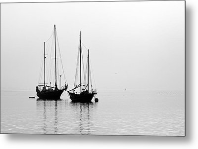 Two Ships In The Fog Metal Print by AJ  Schibig