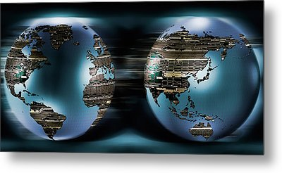 Two Sides Of Earths Made Of Digital Metal Print