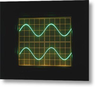 Two Sine Waves On Oscilloscope Screen Metal Print by Dorling Kindersley/uig