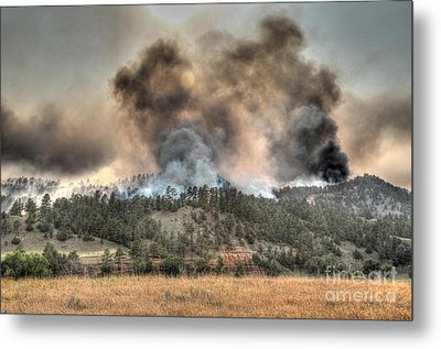 Two Smoke Columns White Draw Fire Metal Print by Bill Gabbert