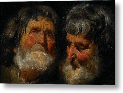 Two Studies Of The Head Of An Old Man Metal Print by Jacob Jordaens