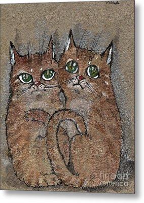 Two Tabby Cats Metal Print by Angel  Tarantella