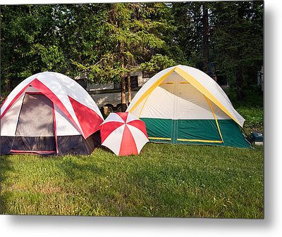 Two Tents And Umbrella Metal Print by Marek Poplawski