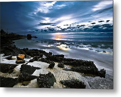 Metal Print featuring the photograph Two Tone Sunset-blue Sky Sea Reflection-splash Of Color by Eszra