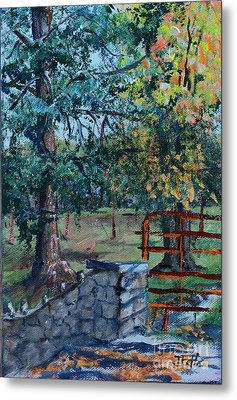 Two Trees And A Gate Metal Print by Janet Felts
