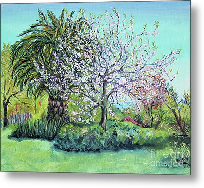 Metal Print featuring the painting Two Trees Like Springtime Lovers by Asha Carolyn Young