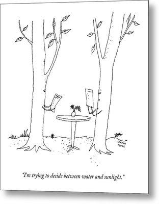 Two Trees Look At Restaurant Menus Metal Print by Liana Finck