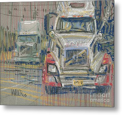 Metal Print featuring the painting Two Volvos by Donald Maier