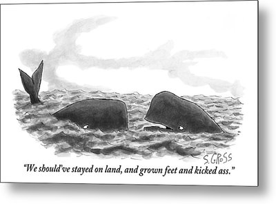 Two Whales Are Seen In Water In Conversation Metal Print