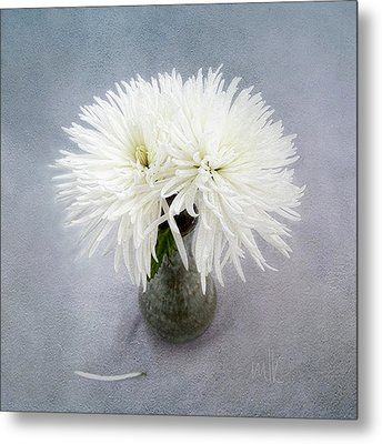 Two White Mums In Green Vase Still Life Metal Print