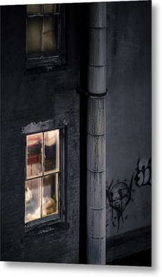 Two Windows And Pipe - Viewed From The Manhattan Bridge Metal Print by Gary Heller