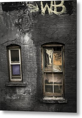 Two Windows Old And New - Old Building In New York Chinatown Metal Print by Gary Heller