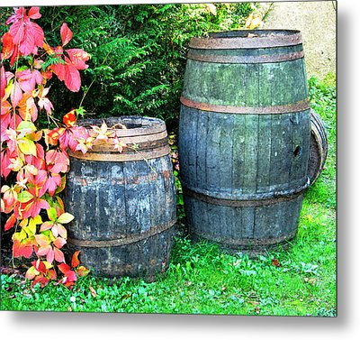 Two Wine Barrels And Red Ivy Digital Print Metal Print by Greg Matchick