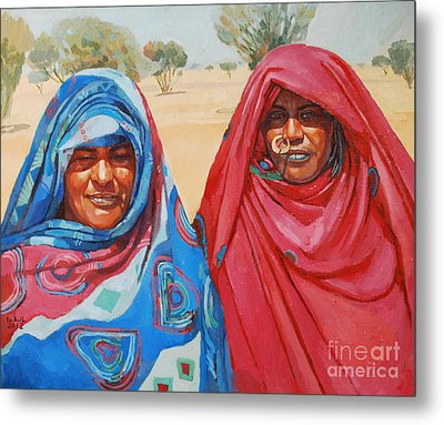 Two Women 2 Metal Print by Mohamed Fadul