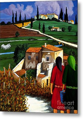 Two Women And Village Sheep Metal Print by William Cain
