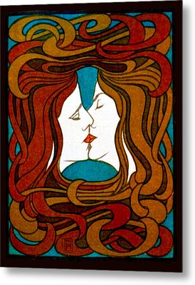 Two Women Kissing Metal Print by Peter Behrens