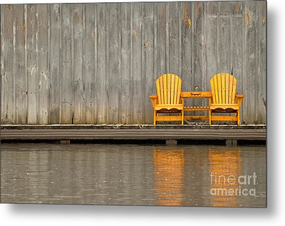 Two Wooden Chairs On An Old Dock Metal Print
