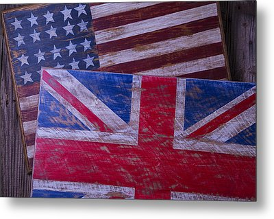 Two Wooden Flags Metal Print