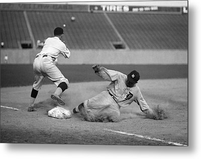 Ty Cobb Sliding Metal Print by Gianfranco Weiss