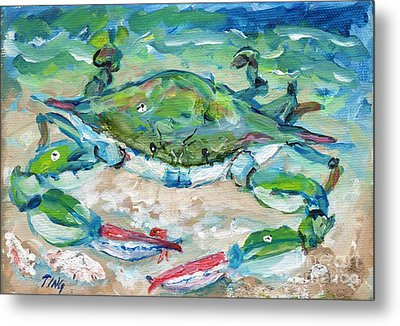 Metal Print featuring the painting Tybee Blue Crab Mini Series by Doris Blessington