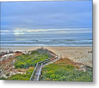 Tybee Island Beach And Boardwalk Metal Print